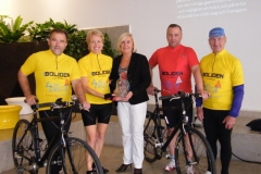 Cycling in Sweden for charity with fellow cyclists - pictured with former Mayoress of Stockholm